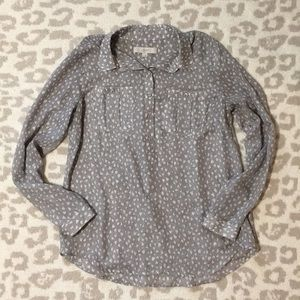 Loft Gray Blouse with White Hearts